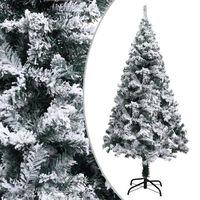 "vidaXL Artificial Christmas Tree with Flocked Snow Green 59.1"" PVC"