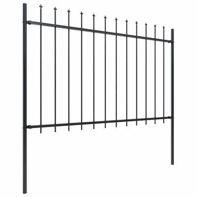 "vidaXL Garden Fence with Spear Top Steel 535.4""x47.2"" Black"