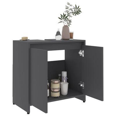 "vidaXL Bathroom Cabinet Gray 23.6""x13""x22.8"" Chipboard"