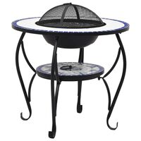 """vidaXL Mosaic Fire Pit Table Blue and White 26.8"""" Ceramic"""