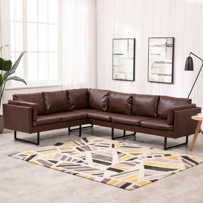 vidaXL Corner Sofa Faux Leather Brown