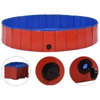 "vidaXL Foldable Dog Swimming Pool Red 63""x11.8"" PVC"