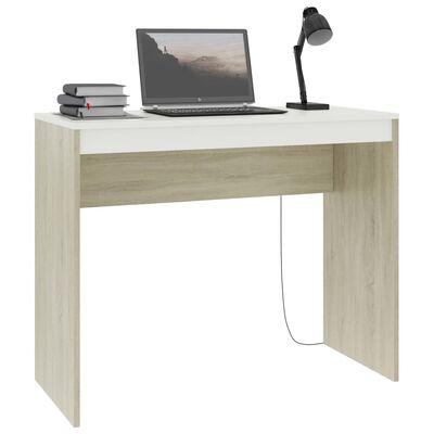 """vidaXL Desk White and Sonoma Oak 35.4""""x15.7""""x28.3"""" Chipboard"""
