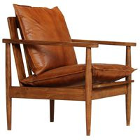 vidaXL Armchair Brown Real Leather with Acacia Wood