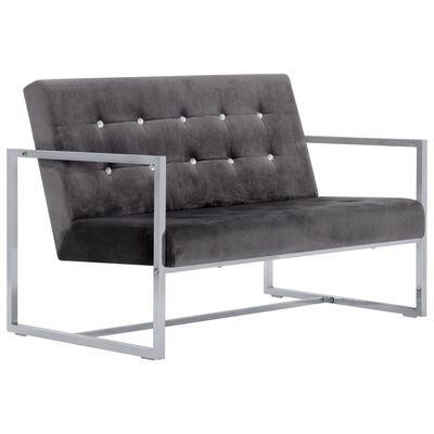 vidaXL 2-Seater Sofa with Armrests Dark Gray Chrome and Velvet