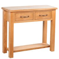"""vidaXL Console Table with 2 Drawers Solid Oak Wood 32.7""""x11.8""""x28.7"""""""
