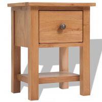 "vidaXL Nightstand Solid Oak Wood 14.2""x11.8""x18.5"" Brown"