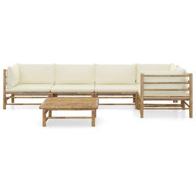 vidaXL 6 Piece Garden Lounge Set with Cream White Cushions Bamboo