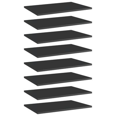 "vidaXL Bookshelf Boards 8 pcs High Gloss Black 23.6""x15.7""x0.6"" Chipboard"