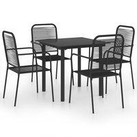 vidaXL 5 Piece Garden Dining Set Black Glass and Steel