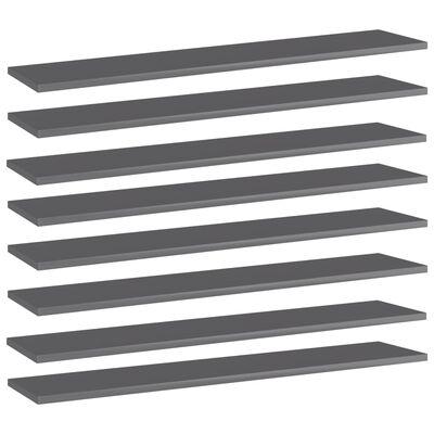 "vidaXL Bookshelf Boards 8 pcs High Gloss Gray 39.4""x7.9""x0.6"" Chipboard"