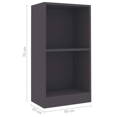 "vidaXL Bookshelf Gray 15.7""x9.4""x29.5"" Chipboard"