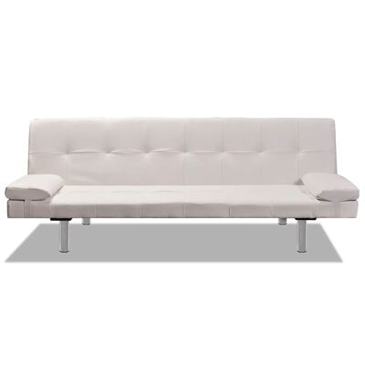 vidaXL Sofa Bed with Two Pillows Artificial Leather Adjustable Cream White