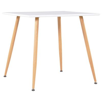 """vidaXL Dining Table White and Oak 31.7""""x31.7""""x28.7"""" MDF"""