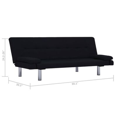 vidaXL Sofa Bed with Two Pillows Black Fabric