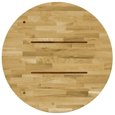 """vidaXL Table Top Solid Oak Wood Round 0.9"""" 15.7"""""""