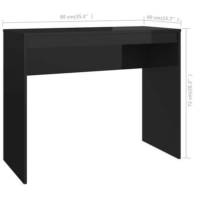 "vidaXL Desk High Gloss Black 35.4""x15.7""x28.3"" Chipboard"