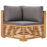vidaXL Garden Corner Sofa with Gray Cushion Solid Teak Wood