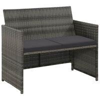 vidaXL 2 Seater Garden Sofa with Cushions Gray Poly Rattan