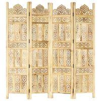 "vidaXL Hand carved 4-Panel Room Divider 63""x65"" Solid Mango Wood"
