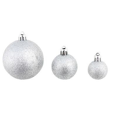 "vidaXL 100 Piece Christmas Ball Set 2.4"" Silver"