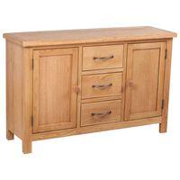 "vidaXL Sideboard with 3 Drawers Solid Oak Wood 43.3""x13.2""x27.6"""