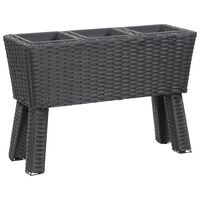 """vidaXL Garden Raised Bed with Legs and 3 Pots 28.3""""x9.8""""x19.7"""" Poly Rattan Black"""