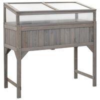 """vidaXL Raised Garden Bed with Greenhouse 47.2""""x21.3""""x47.2"""" Fir Wood"""