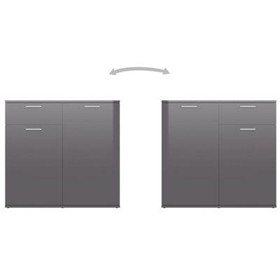 "vidaXL Sideboard High Gloss Gray 31.5""x14.2""x29.5"" Chipboard"