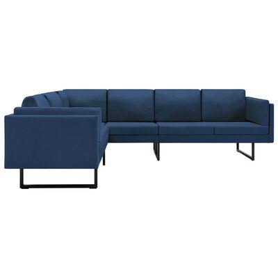 vidaXL Corner Sofa Blue Fabric