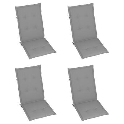 vidaXL Reclining Garden Chairs with Cushions 4 pcs Solid Teak Wood