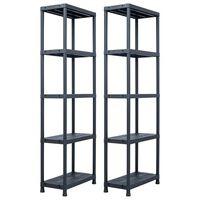 "vidaXL Storage Shelf Racks 2 pcs Black 155.1 lb 23.6""x11.8""x70.9"" Plastic"