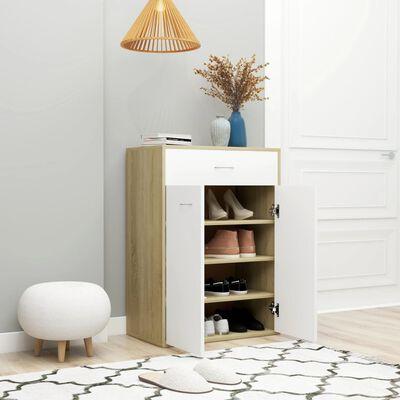 "vidaXL Shoe Cabinet White and Sonoma Oak 23.6""x13.7""x33"" Chipboard"