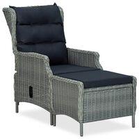 vidaXL Reclining Garden Chair with Footstool Poly Rattan Light Gray