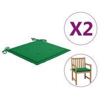 "vidaXL Garden Chair Cushions 2 pcs Green 19.7""x19.7""x1.6"""