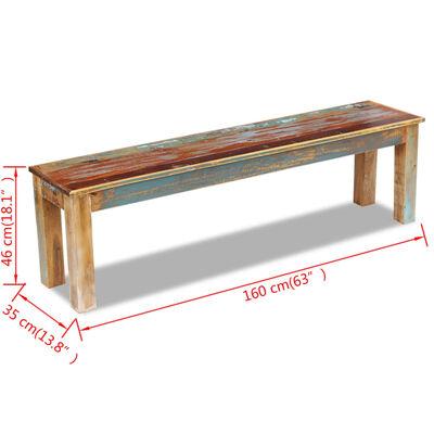 "vidaXL Bench Solid Reclaimed Wood 63""x13.8""x18.1"""