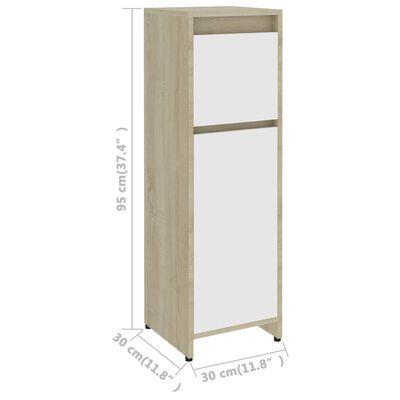 "vidaXL Bathroom Cabinet White and Sonoma Oak 11.8""x11.8""x37.4"" Chipboard"