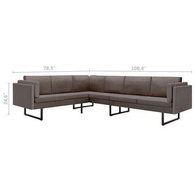 vidaXL Corner Sofa Taupe Fabric