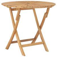 "vidaXL Folding Garden Table Ø 33.5"" Solid Teak Wood"