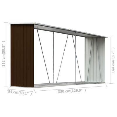 """vidaXL Garden Log Storage Shed Galvanized Steel 129.9""""x33.1""""x59.8"""" Brown"""