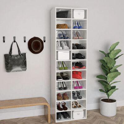 "vidaXL Shoe Cabinet High Gloss White 21.3""x13.4""x72"" Chipboard"