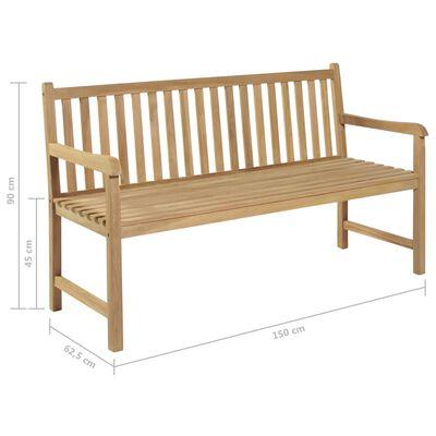 "vidaXL Garden Bench with Gray Cushion 59.1"" Solid Teak Wood"