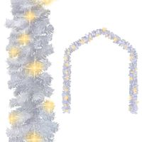 vidaXL Christmas Garland with LED Lights White 16.4' PVC