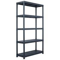 "vidaXL Storage Shelf Rack Black 1102.3 lb 39.4""x15.7""x70.9"" Plastic"