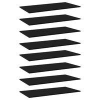 """vidaXL Bookshelf Boards 8 pcs Black 31.5""""x11.8""""x0.6"""" Chipboard"""