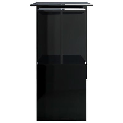 "vidaXL Corner Desk High Gloss Black 78.7""x19.7""x29.9"" Chipboard"