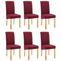 vidaXL Dining Chairs 6 pcs Red Fabric