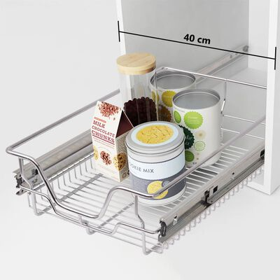 """vidaXL Pull-Out Wire Baskets 2 pcs Silver 15.7"""""""