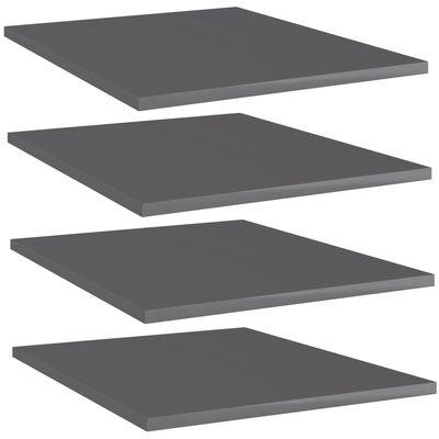 "vidaXL Bookshelf Boards 4 pcs High Gloss Gray 15.7""x19.7""x0.6"" Chipboard"