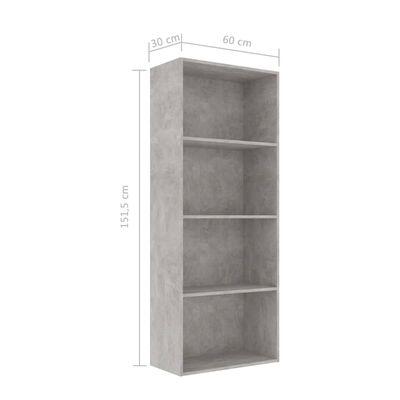 "vidaXL 4-Tier Book Cabinet Concrete Gray 23.6""x11.8""x59.6"" Chipboard"